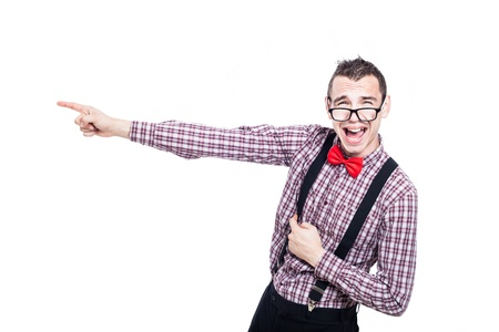 Funny excited nerd man pointing, isolated on white background photo