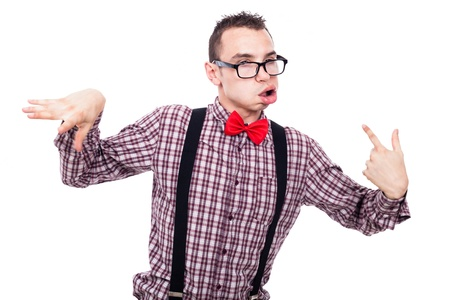 Crazy nerd man making funny faces, isolated on white background photo
