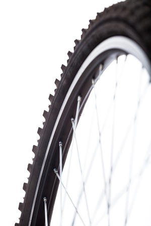 mountain bicycle: Detail of bicycle wheel, isolated on white background