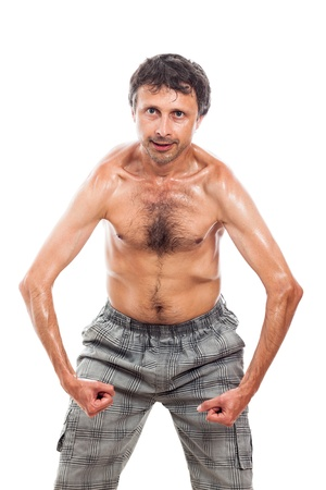 bizarre: Funny shirtless man showing his body, isolated on white background