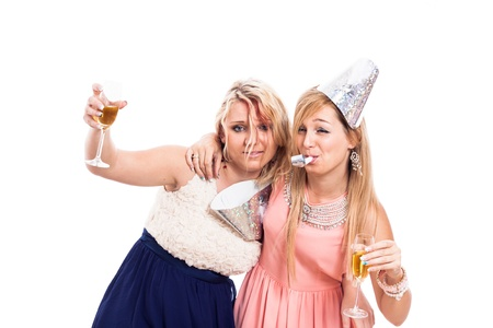 drunk woman: Two drunken girls celebrate with alcohol, isolated on white background