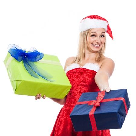 generoso: Euf�rico generosa mujer de la Navidad que da presentes, aislado sobre fondo blanco. Foto de archivo