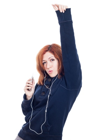 Woman with earphones enjoying music, isolated on white background  photo