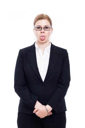 disrespectful: Portrait of businesswoman sticking out tongue, isolated on white background.