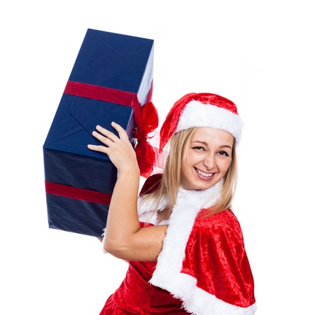 Funny happy Christmas woman with big present, isolated on white background. photo