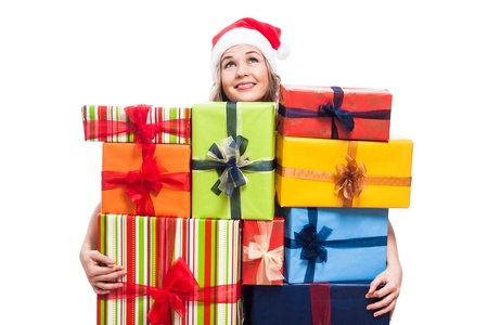 thankful: Thankful Christmas woman with many presents looking up, isolated on white background.