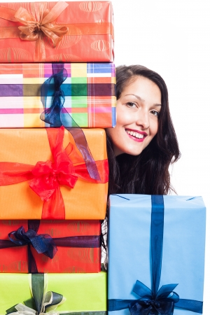 Happy woman with many presents, isolated on white background. photo