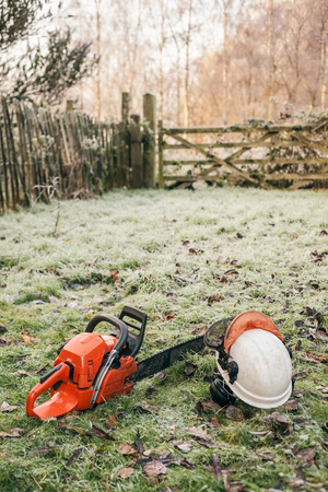 Chainsaw and helmet lying in the garden. photo