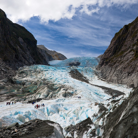 south coast: Scenic landscape at Franz Josef Glacier. Southern Alps, West Coast, South Island, New Zealand. Stock Photo