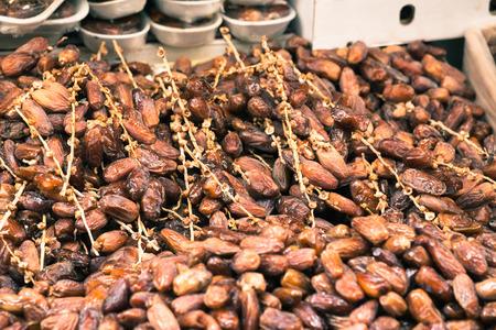 dactylifera: Sweet date fruits on market in Morocco.