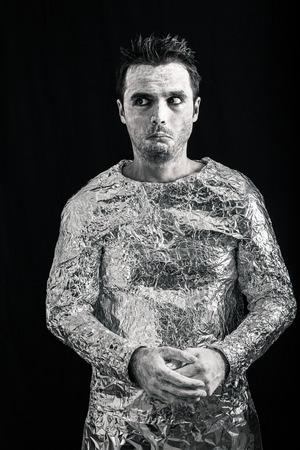 weirdo: Portrait of scared alien man.
