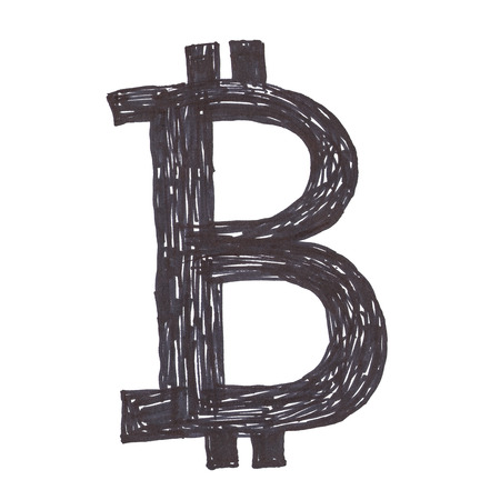 decentralized: Bitcoin symbol, handmade black drawing of a digital cryptocurrency, letter B on white background. Stock Photo