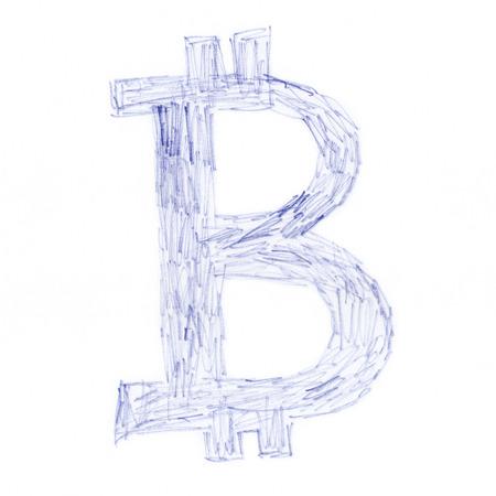 garabatos: Garabato s�mbolo Bitcoin, dibujo hecho a mano de un Criptodivisa digital, letra B, sobre fondo blanco.
