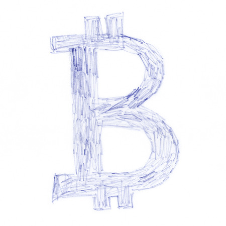 decentralized: Scrawl Bitcoin symbol, handmade drawing of a digital cryptocurrency, letter B on white background. Stock Photo