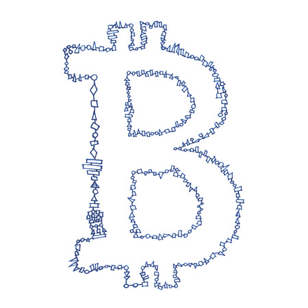 decentralized: Bitcoin symbol, handmade drawing of a digital cryptocurrency, letter B on white background.