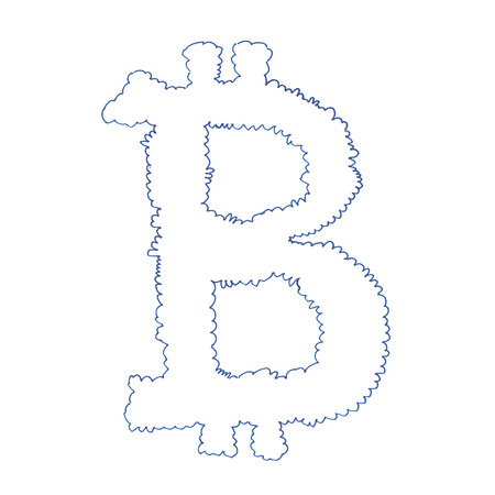 decentralized: Bitcoin cloud symbol, handmade drawing of a digital decentralized cryptocurrency, letter B on white background.