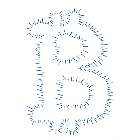 decentralized: Spiky Bitcoin symbol, handmade drawing of a digital decentralized crypto currency, letter B on white background. Stock Photo