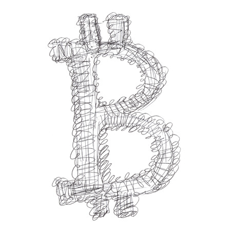 decentralized: Entangled Bitcoin symbol, handmade drawing of a digital cryptocurrency, letter B on white background.