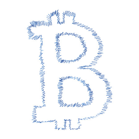 p2p: Bitcoin symbol handwriting, simple drawing of a digital decentralized cryptocurrency, letter B on white background.