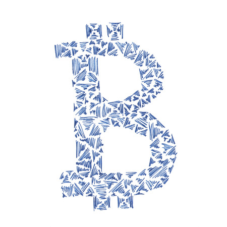 decentralized: Bitcoin symbol illustration, handmade drawing of a digital decentralized cryptocurrency, letter B on white background. Stock Photo