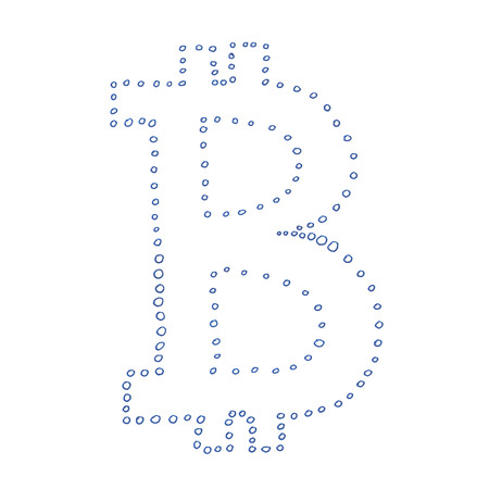 p2p: Bitcoin symbol, handmade drawing of a digital decentralized crypto currency, small coins in a shape of letter B on white background.