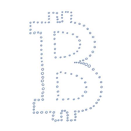Símbolo Negro Bitcoin Dibujo Hecho A Mano De Una Moneda