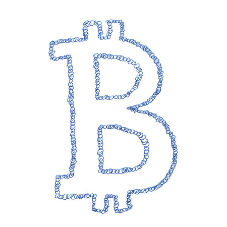 decentralized: Chain Bitcoin symbol, handmade drawing of a digital cryptocurrency, circles in shape of letter B on white background. Stock Photo