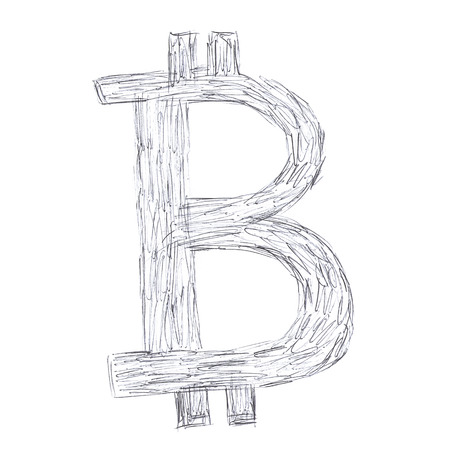 decentralized: Simple Bitcoin symbol, handmade drawing of a digital cryptocurrency, letter B on white background.