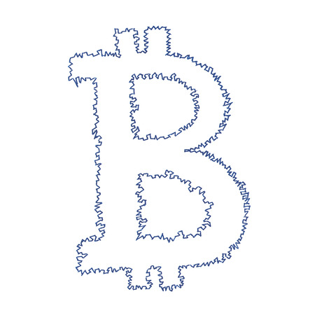 decentralized: Serrated Bitcoin symbol, handmade drawing of a digital decentralized cryptocurrency, letter B on white background. Stock Photo