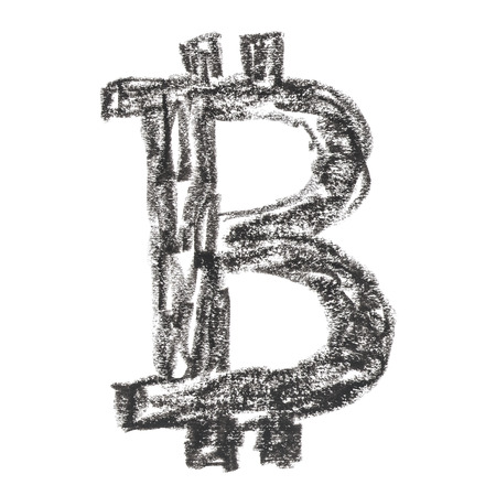 decentralized: Black Bitcoin symbol, handmade drawing of a digital decentralized crypto currency, letter B on white background.