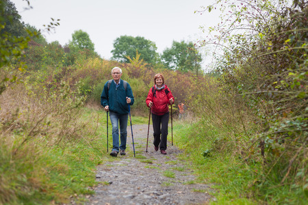 guy with walking stick: Senior couple Nordic walking on rocky trail in the nature.