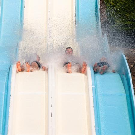 aqua park: People water slide at aqua park.