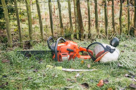 serrucho: Motosierra y sierra de mano poda acostado en el jardín.