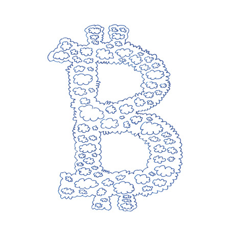 decentralized: Bitcoin cloud hand-drawn symbol of a digital decentralized crypto currency, letter B on white background.