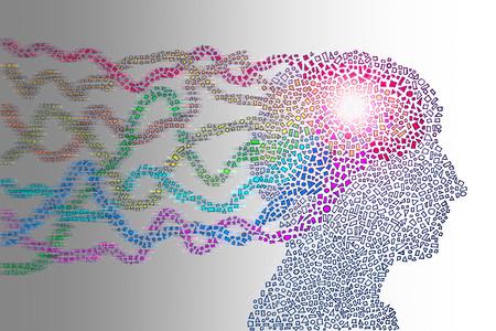 Menselijk hoofd tonen krachtige geest doorstroming van de hersenen. Hand getekende kleurrijke conceptuele illustratie van de mensheid, creativiteit, verbeelding, wetenschap en macht.