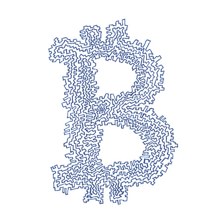 decentralized: Serrated Bitcoin hand-drawn symbol of a digital decentralized crypto currency, letter B on white background.