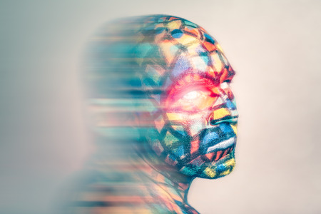 supernatural power: Superhero portrait, colorful face art with motion blur effect. Stock Photo