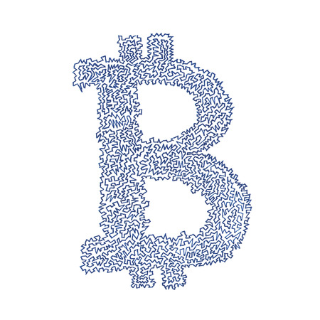 decentralized: Bitcoin serrated hand-drawn symbol of a digital decentralized crypto currency, letter B on white background.