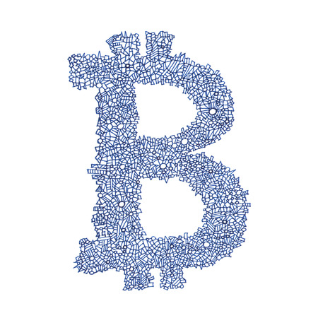 decentralized: Bitcoin hand-drawn symbol of a digital decentralized crypto currency, letter B on white background. Stock Photo