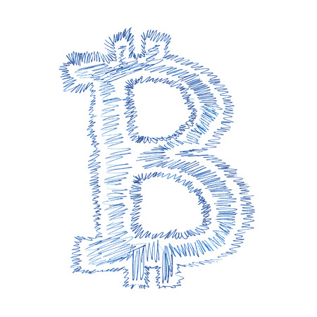 decentralized: Simple Bitcoin hand-drawn symbol of a digital decentralized crypto currency, letter B on white background.