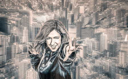 super human: Female superhero and cityscape on the background, digitally altered portrait with motion blur effect.