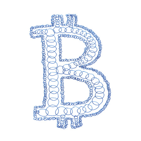 decentralized: Chain Bitcoin hand-drawn symbol of a digital decentralized crypto currency, letter B on white background.
