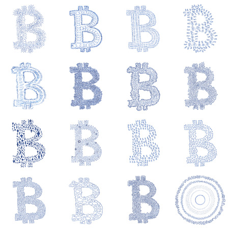 crypto: Hand-drawn Bitcoin logo. Collage of a digital decentralized crypto currency symbols. Stock Photo
