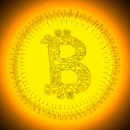 crypto: Golden radiant cryptocurrency Bitcoin illustration. Logo of a digital decentralized crypto currency coin.