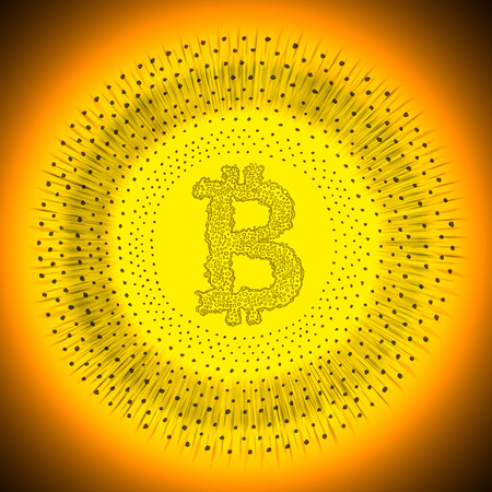 decentralization: Golden radiant Bitcoin coin. Illustration of a digital decentralized crypto currency logo.