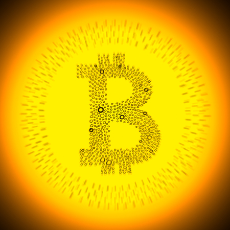 crypto: Golden Bitcoin logo. Illustration of a digital decentralized crypto currency coin.