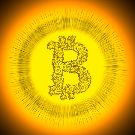decentralization: Golden radiant Bitcoin Logo. Illustration of a digital decentralized crypto currency coin. Stock Photo