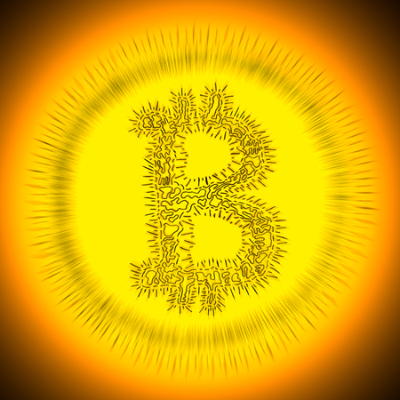 crypto: Spiky Bitcoin hand-drawn symbol of a digital decentralized crypto currency, letter B on white background. Stock Photo
