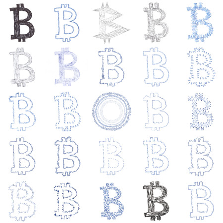 currency symbols: Hand-drawn Bitcoin logo. Collage of a digital decentralized crypto currency symbols. Stock Photo