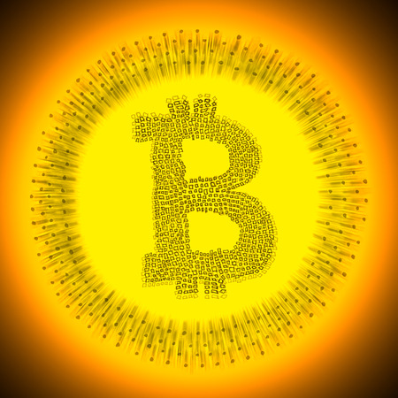 decentralized: Digital gold Bitcoin illustration. Logo of an electronic decentralized crypto currency coin.